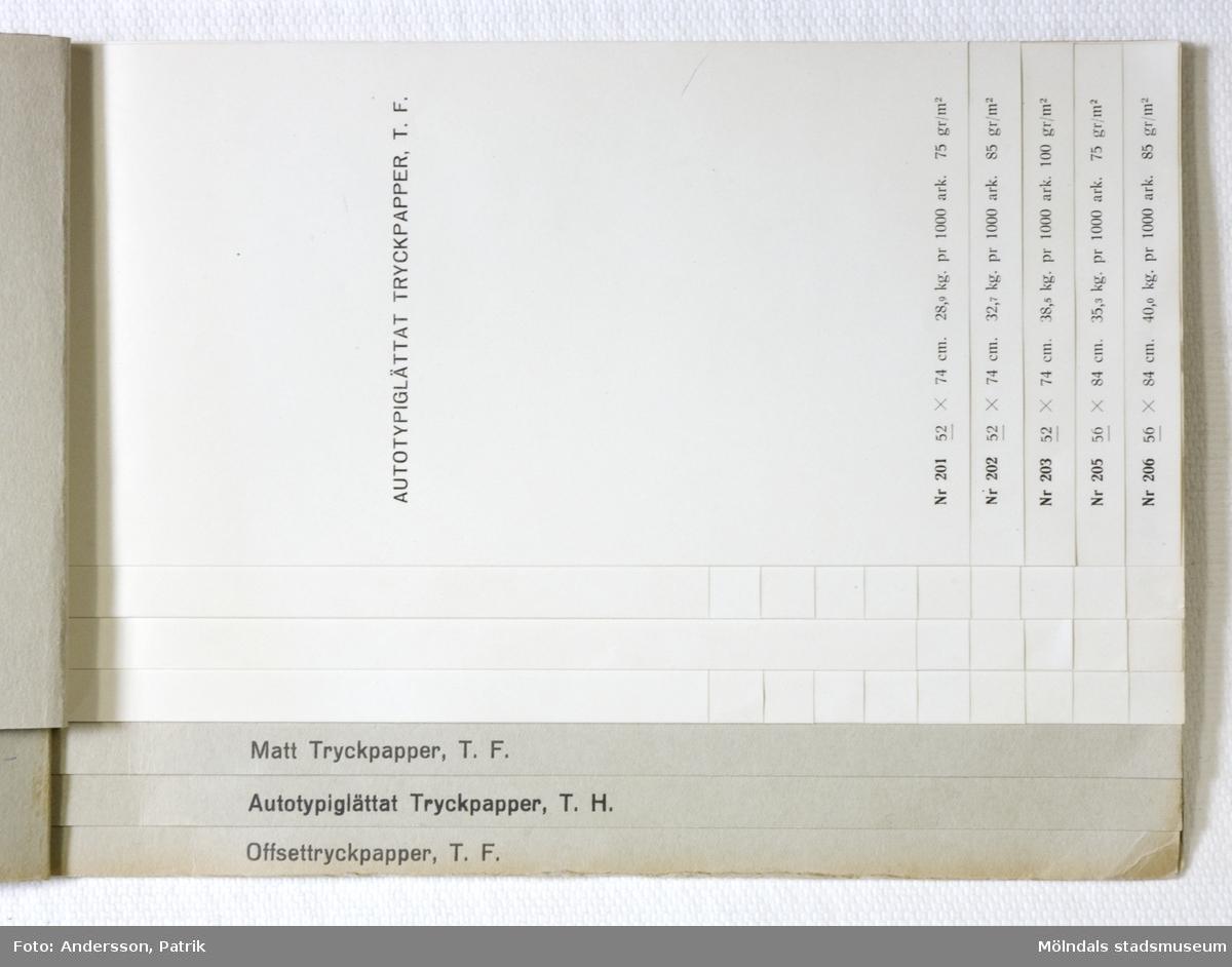 """Provbok Nr. 2C. Häfte med prover; """"Tryckpapper och Offsetpapper"""". Papyrus logotyp, sfinx på fundament. Text i relieftryck. Pärm av grå skinnpräglad kartong. Produktinformation på varje provark. Litteratur: Papyrus 1895-1945, Minnesskrifter, Esseltes Göteborgsindustrier AB, Göteborg 1945."""
