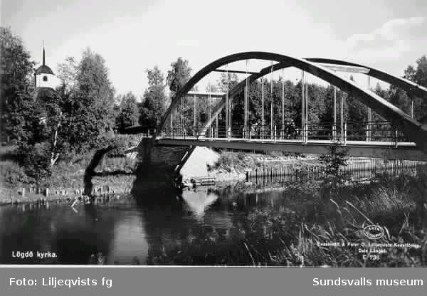 Vägbro över Lögdeån. Lögdö kyrka.