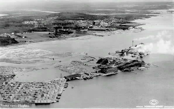 Flygfoto över Vivstavarvs fabrik.