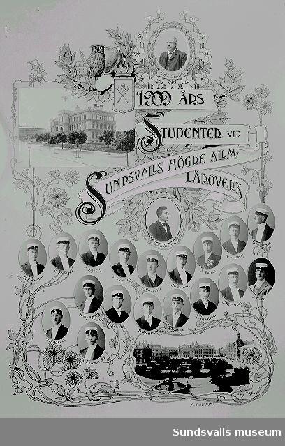 1909 års studenter vid Sundsvalls Högre Allm. Läroverk. Montage.
