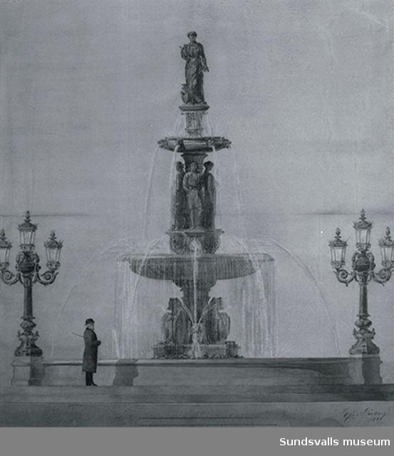 Skiss till fontänen i Vängåvan