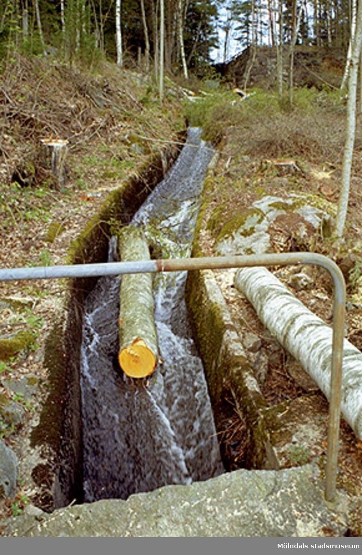 Vy från norr på avverkad stock som flyter i en vattenkanal. Maj 1998.