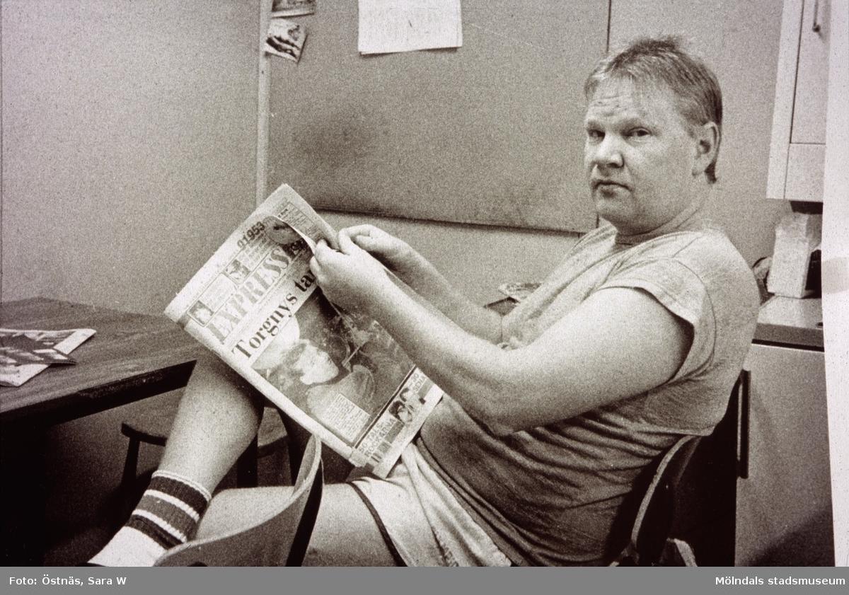 Kent-Erik Pettersson har rast på Papyrus i Mölndal, år 1990. Byggnad 6.