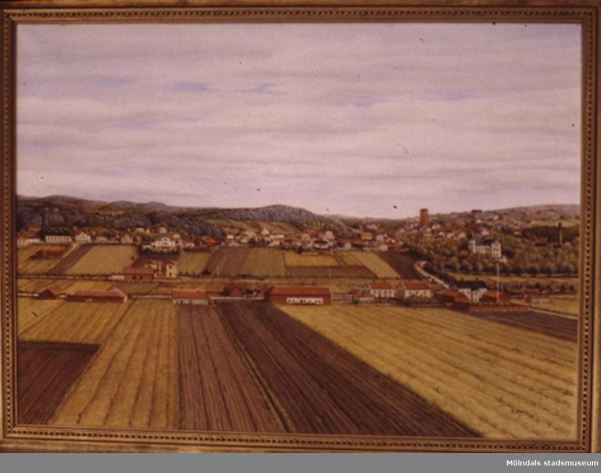 Landskapsvy i Mölndal.En tavla målad av den naivistiske mölndalskonstnären Knut Berg.
