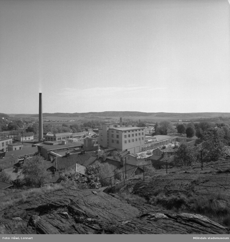 Utsikt över Papyrus fabriksområde i Mölndal, 3/6 1955.