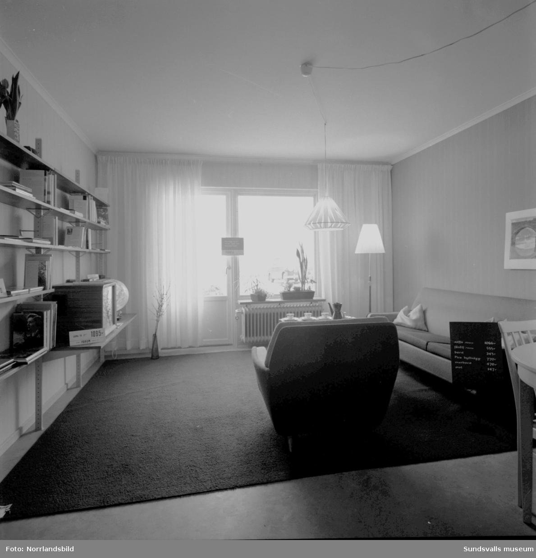 Exteriör- och interiörbilder från villabebyggelse i Skön. Visningshus?