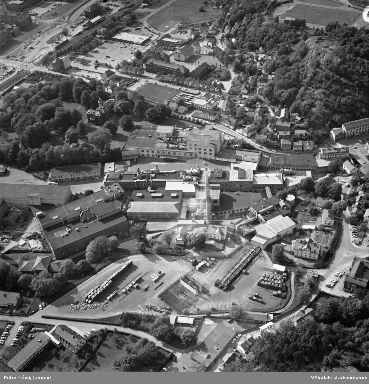 Flygfoto över Papyrus fabriksområde i Mölndal, 9/6 1969.