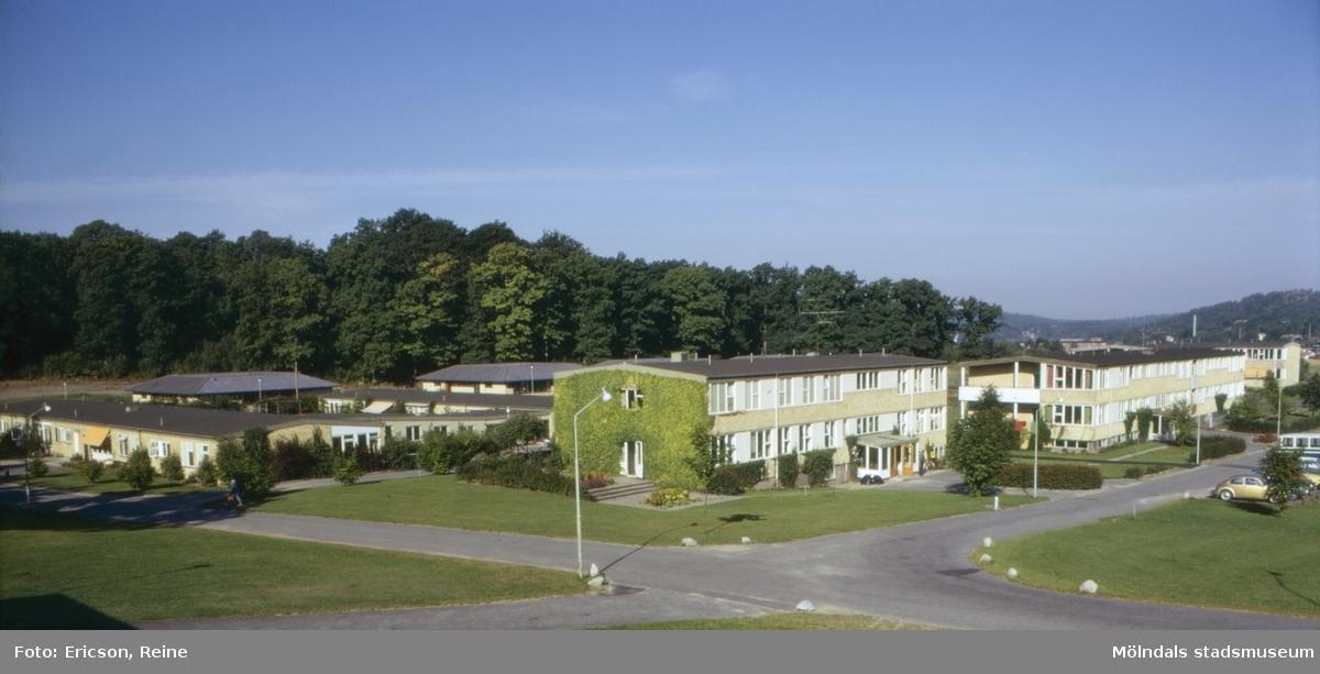 Sagåsens vårdhem och yrkesskola för utvecklingsstörda.  Stretered är en stor vård- och skolinrättning, som anlades redan 1894, för utvecklingsstörda och handikappade barn.  Skol- och vårdinrättningen äges av Göteborgs stad och Göteborgs- och Bohus Läns Landsting.  Sagåsen är en nybyggd avdelning inom Streteredsskolan med vårdhem och yrkesskola, som syns här på bilden.  Sagåsen är egentligen en förkortning av namnet Sageredsåsen, som sträcker sig fram mot den gamla kronogården Sagered.