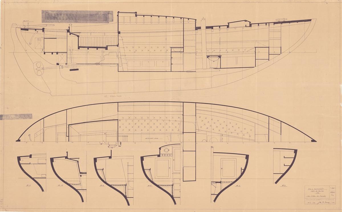 Inredningsritning i plan, profil och sektioner