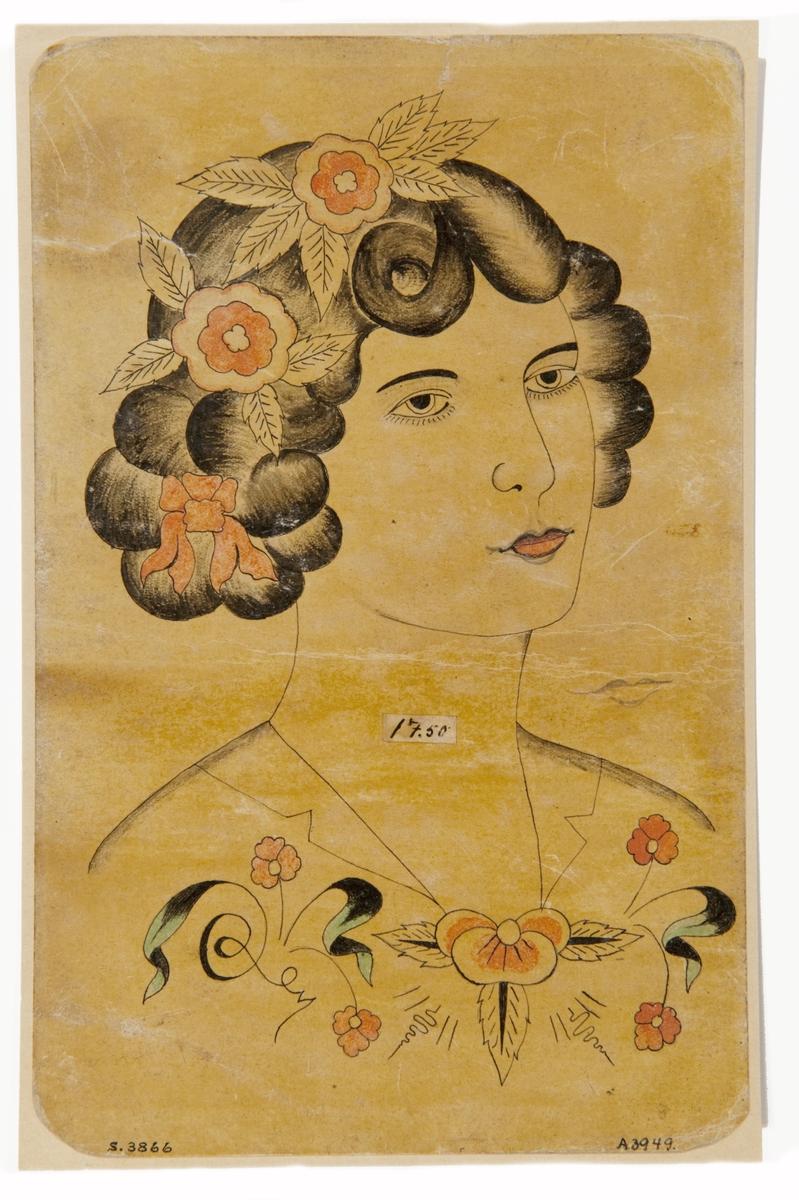 Tatueringsförlaga. Porträtt av kvinna med blommor och rosett i håret.