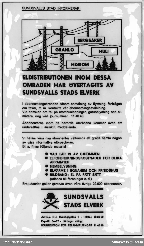 Reproduktion av en informationsannons från Sundsvalls stads elverk.