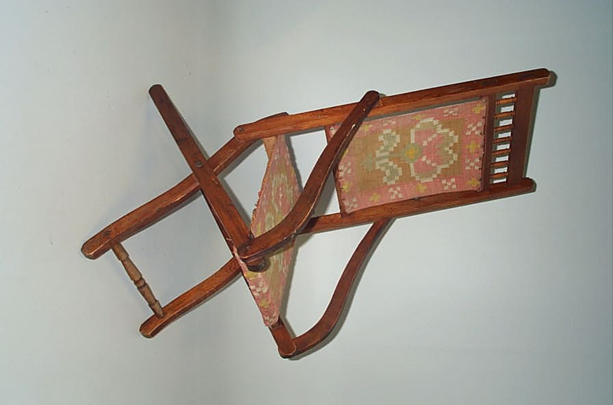 Klappstol til inne og ute bruk  -    Ulltrekk i åklemønster  -