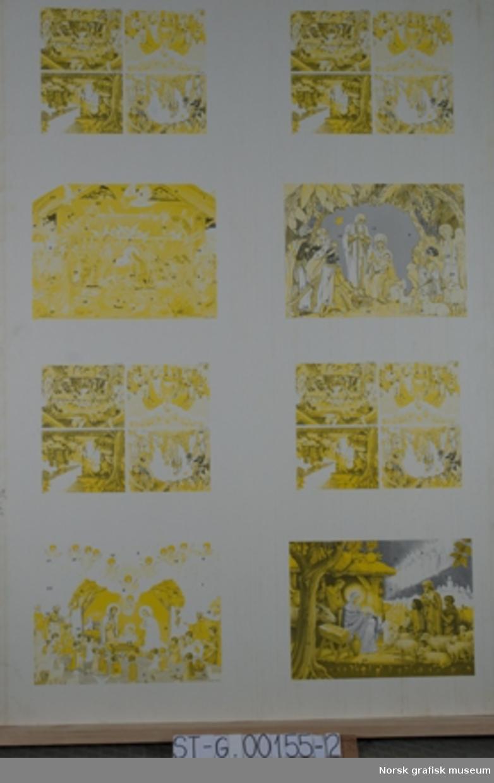 """Originaltrykkark av adventskalender, """"Julekrybbe - adventskalender med figurer som kan stå"""". På dette trykkarket kun gul og blå trykkfarge."""
