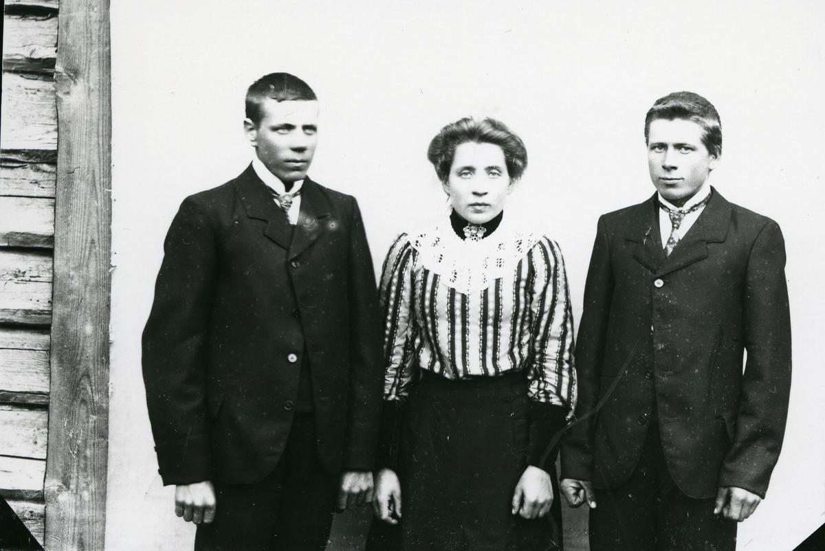 En kvinne og to menn foran lerret