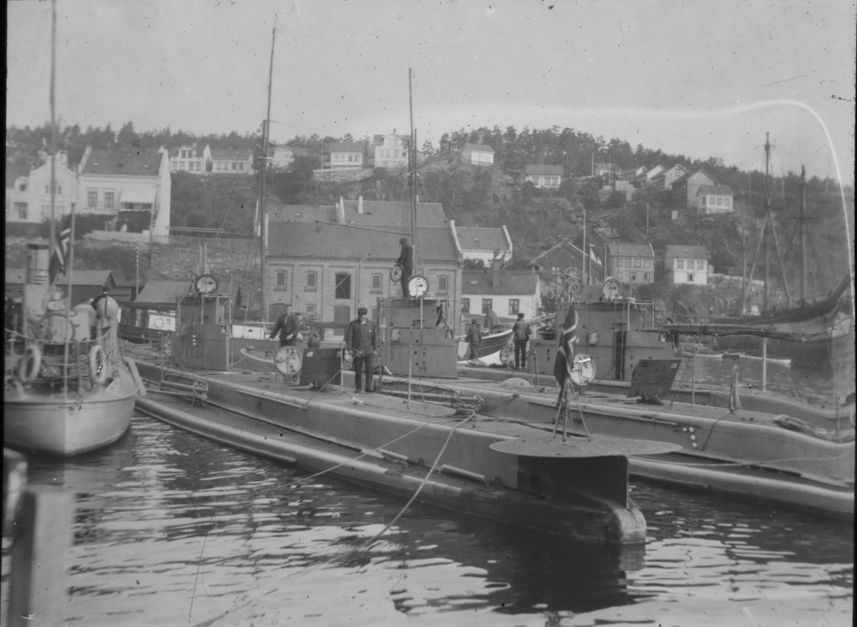 Ubåt i Kirkebukta. Kragerø, ca. 1919