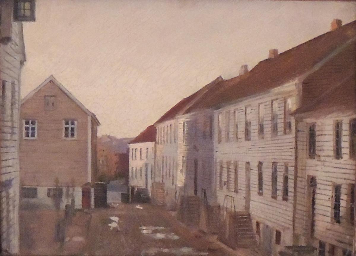 Amaldus Nielsens gate sett fra Brogata i Mandal.