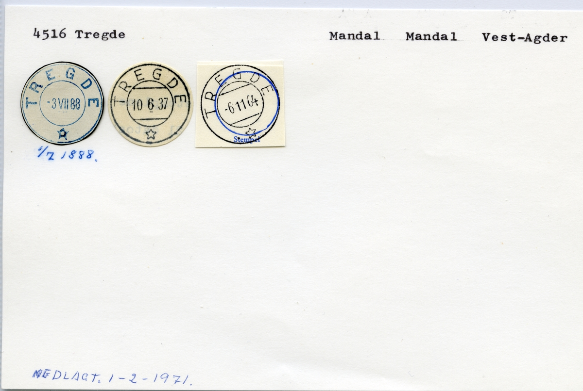 Stempelkatalog 4516 Tregde, Mandal, Vest-Agder