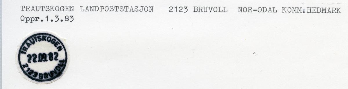 Stempelkatalog 2124 Trautskogen,  Skarnes, Nord-Odal, Hedmark