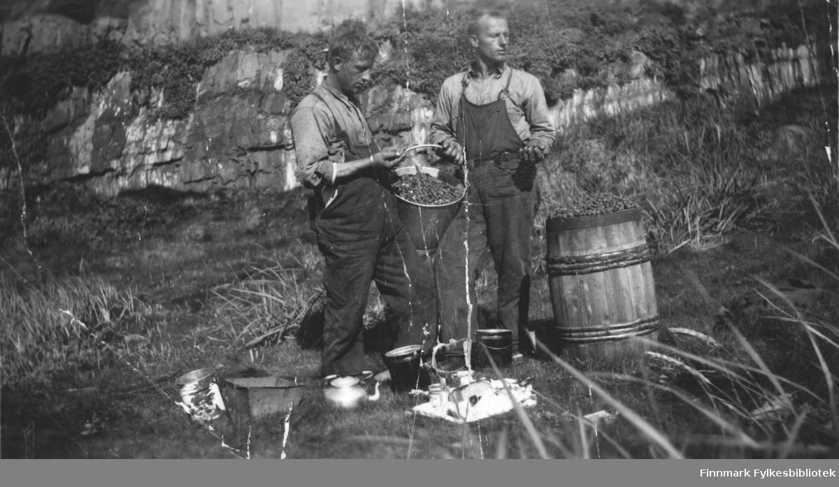 Multebærplukking på Kongsøya ca 1924. Tvillingene Jakob og Petter Ryeng? På bildet står de to med et fullt spann med multer mellom seg. Ved siden av dem står en tretønne overfylt med multer. På bakken ligger brødniste, pålegg, kaffekanne og tomme bøtter.