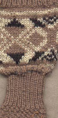 Barnkragvante i 3-trådigt ljusbrunt och 4-trådigt(mörkbrunt) ullgarn.1cm resår senslätsticksd mönsterstickning Bjärbobård naturvit och brun på lj brun botten,4cm resår runt handleden handen i lj brun moss-stickning,tumme och avmaskning i slätstickning.