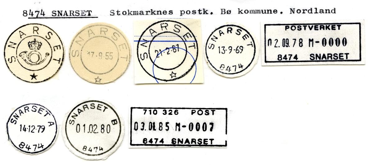 Stempelkatalog  8474 Snarset, Bø kommune, Nordland