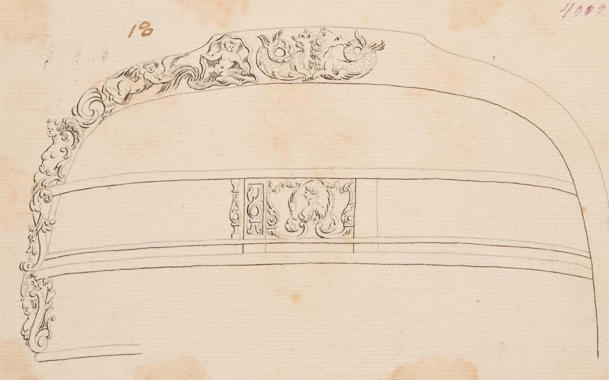 Ornamentering akterspegelsornament gjort av Fredrik Henrik af Chapman.