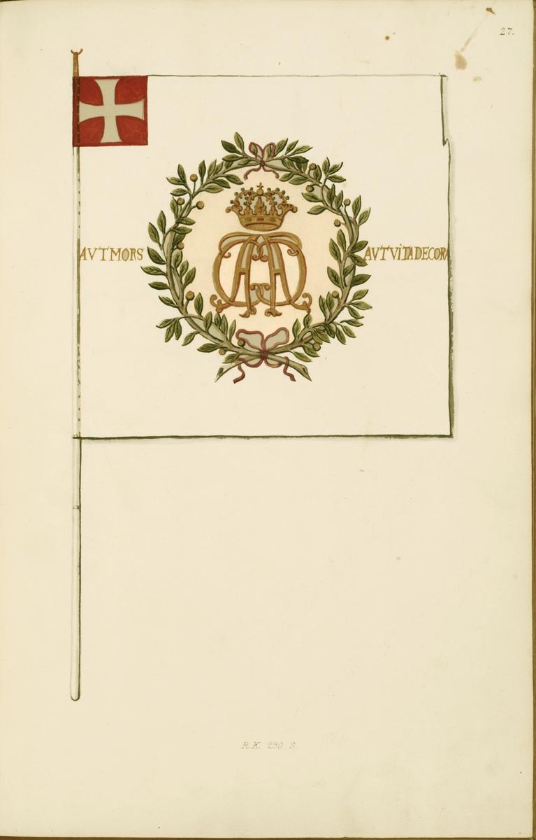 Avbildning i gouache föreställande fälttecken taget som trofé av svenska armén. Den avbildade fanan finns delvis bevarad i Armémuseums samling, för mer information, se relaterade objekt.