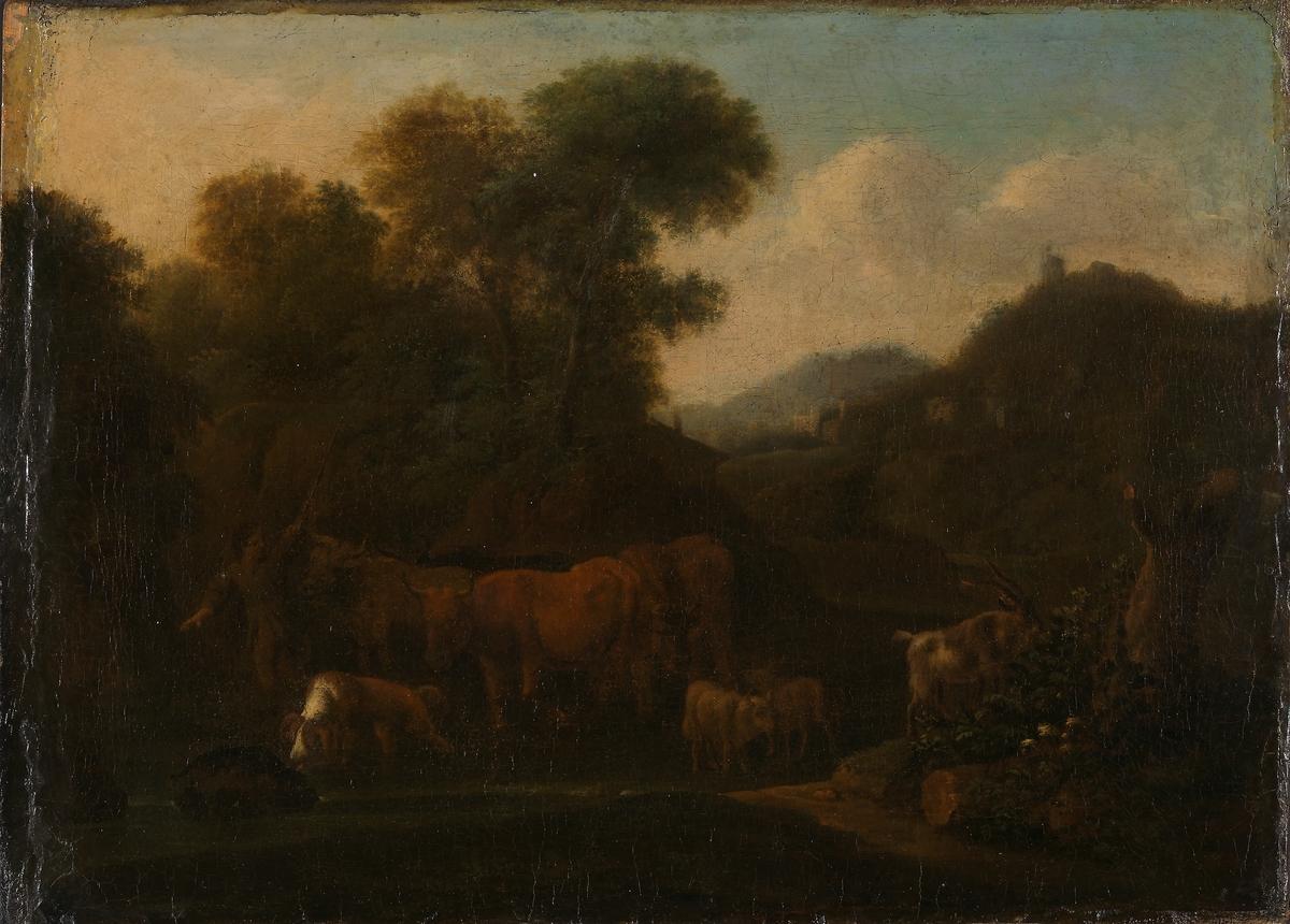 Berglandskap med gjeter [Maleri]