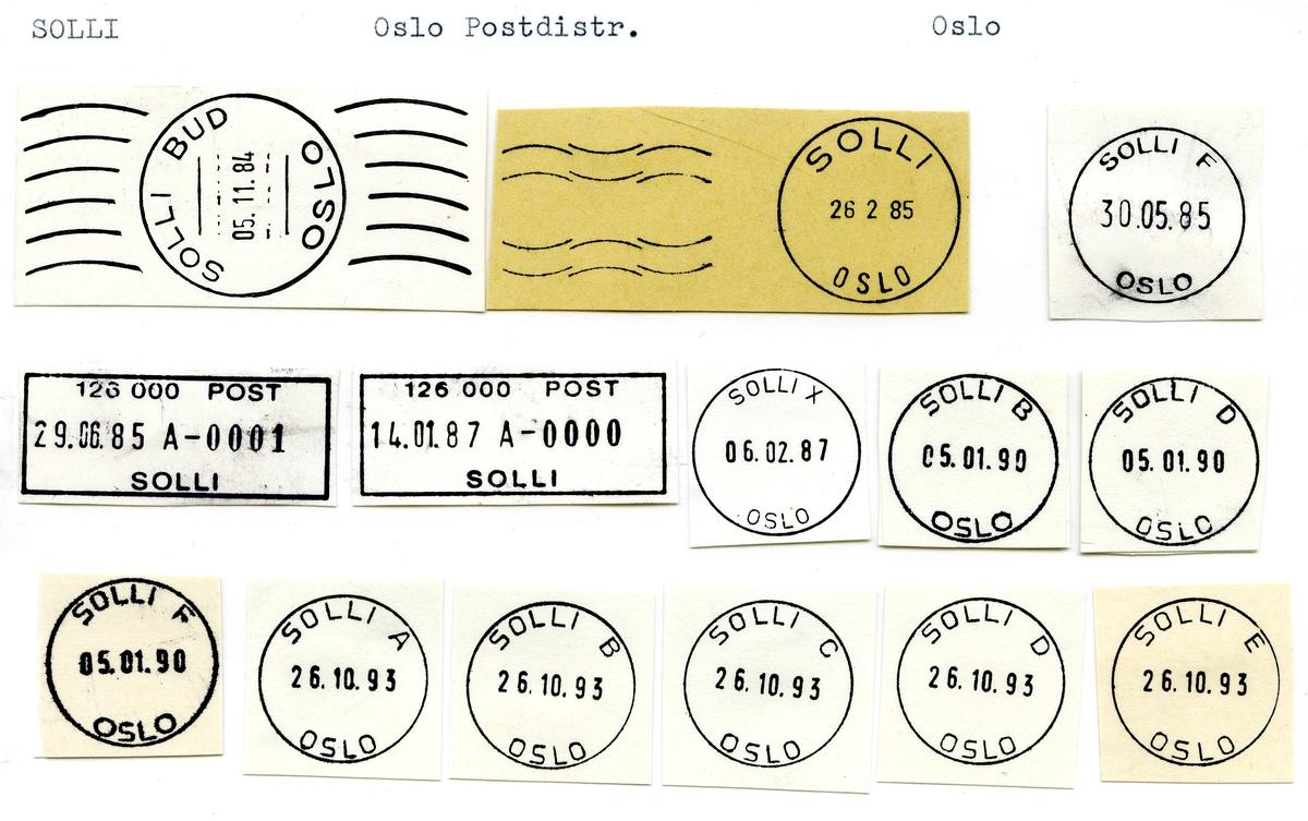 Stempelkatalog  Solli, Oslo kommune, Oslo (Kristiania Solli, Oslo Solli)
