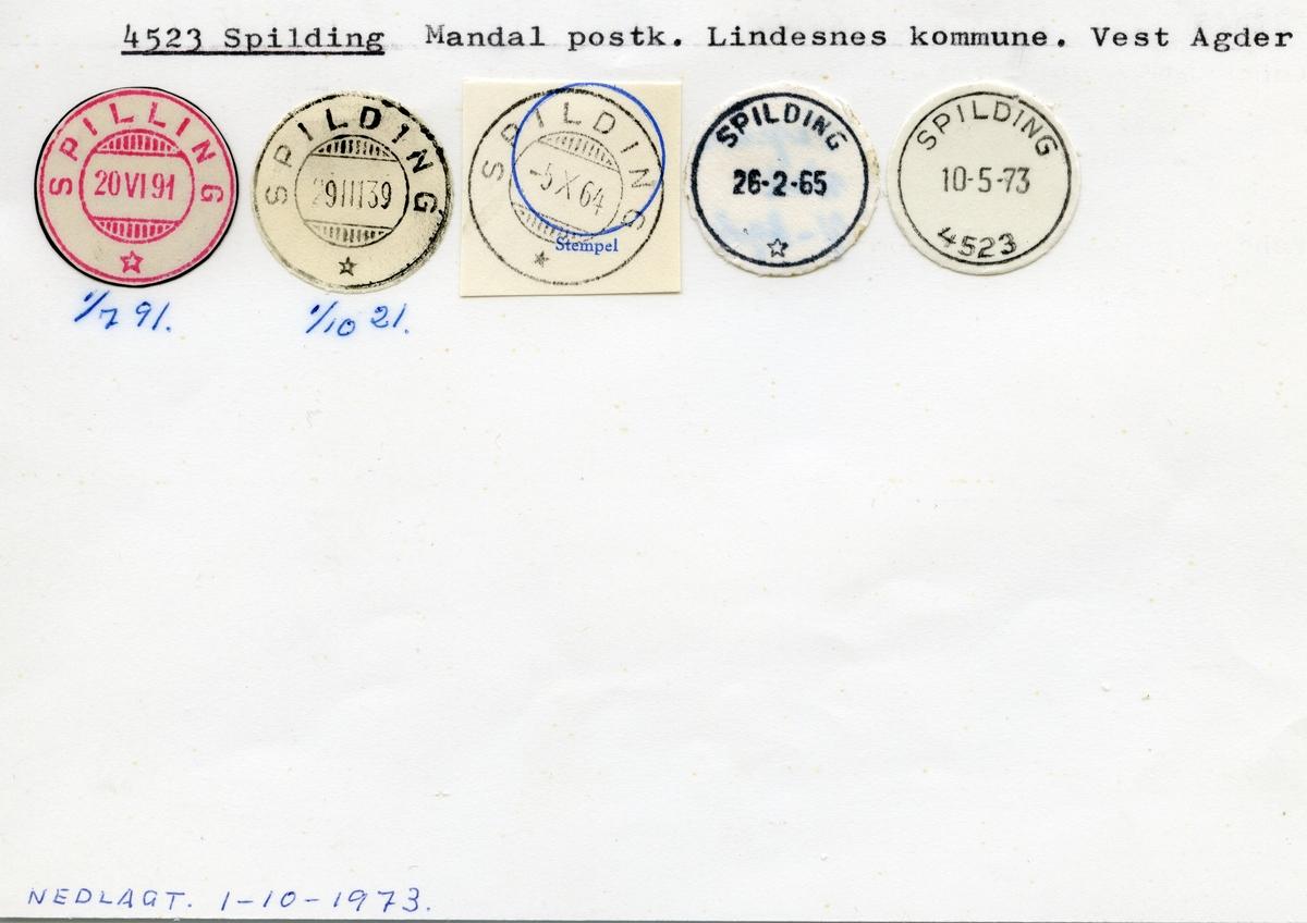 Stempelkatalog 4523 Spilding, Lindesnes kommune, Vest-Agder