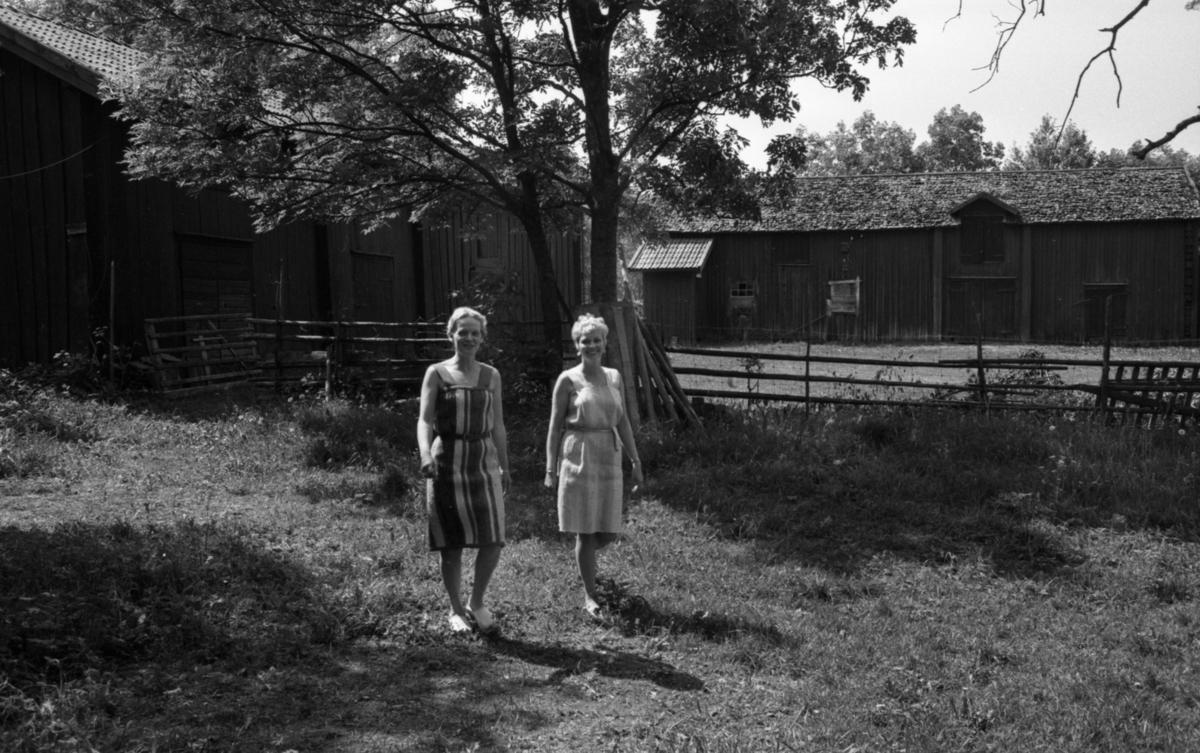 Lekhyttan 21 juni 1966Två kvinnor i korta, ärmlösa sommarklänningar kommer gående över en gräsamatta i närheten av två hus. En gärdesgård syns bakom kvinnorna.