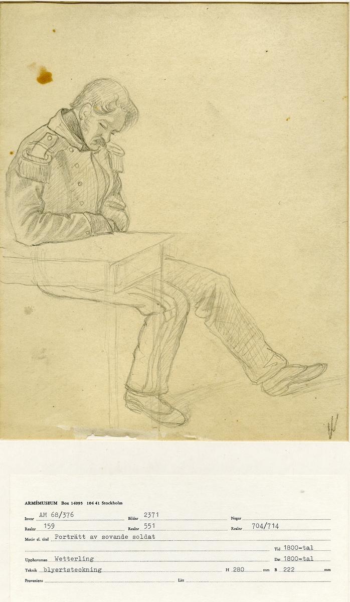 Grupp M I. 15 stycken teckningar, studier i svartkrita och blyerts med olika motiv. 1: Porträtt av okänd soldat 2:  Porträttskiss på okänd soldat som sitter och röker pipa 3: Porträtt på okänd soldat som ligger med uppknäppt rock och vilar. 4: Porträttskiss på okänd stående soldat 5: Porträtt på sovande soldat 6: Porträtt på okänd soldat 7: Teckning på nedböjd soldat 8: Skiss föreställande soldat 9: Skiss föreställande soldat från Svea livgarde 10: Teckning föreställande soldat sedd sittande med ryggen vänd mot betraktaren