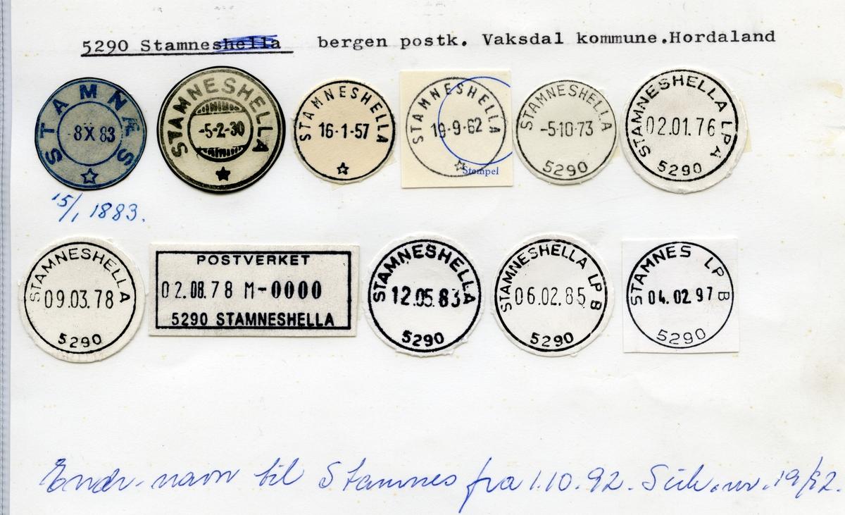 Stempelkatalog  5290 Stamnes, Vaksdal kommune, Hordaland (Stamneshella til 1.10.1992)