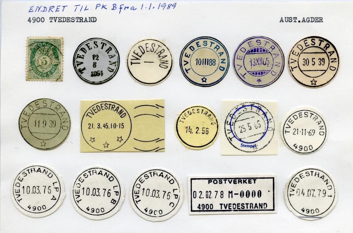 Stempelkatalog 4900 Tvedestrand, Aust-Agder
