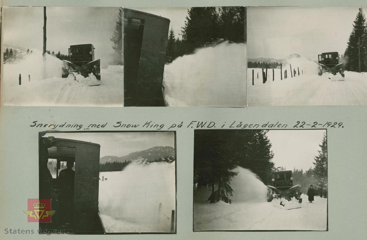 "Album fra 1918-1934, ""Snebrøyting."" I følge merking: ""Snørydding med Snow King på F.W.D. i Lågendalen 22.02.1929."""