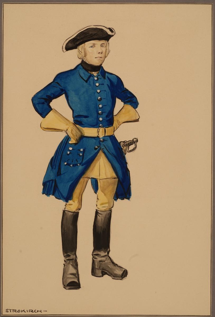 Plansch med uniform för trossdräng vid Västgöta kavalleriregemente tidigt 1700-tal, ritad av Einar von Strokirch.