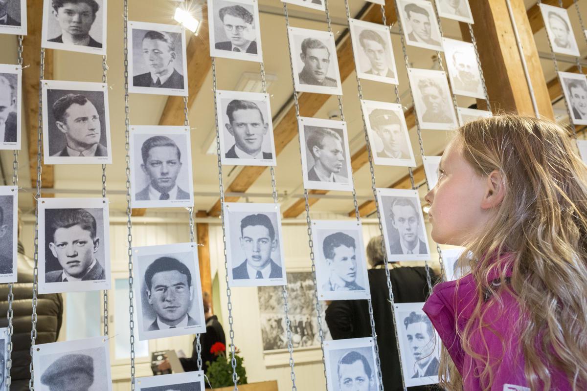 En jente ser på bilder i utstilling (Foto/Photo)