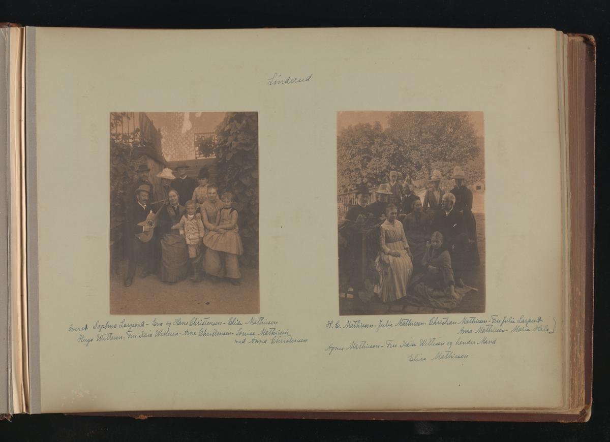 Albumside 26 av grågrønn kartong med to bilder fra Linderud: 1) gruppebilde 2) gruppebilde.