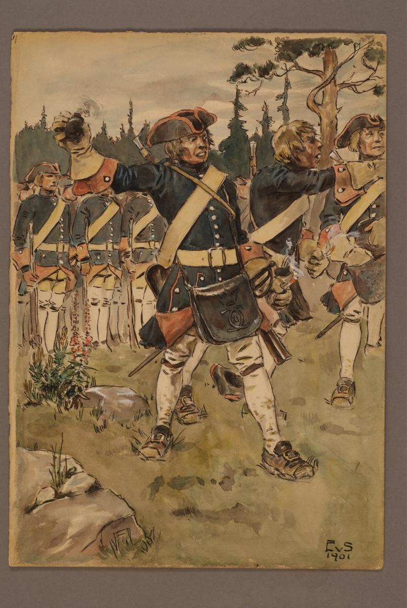 Plansch med uniform för Indelta linjeinfanteriet 1765, ritad av Einar von Strokirch.