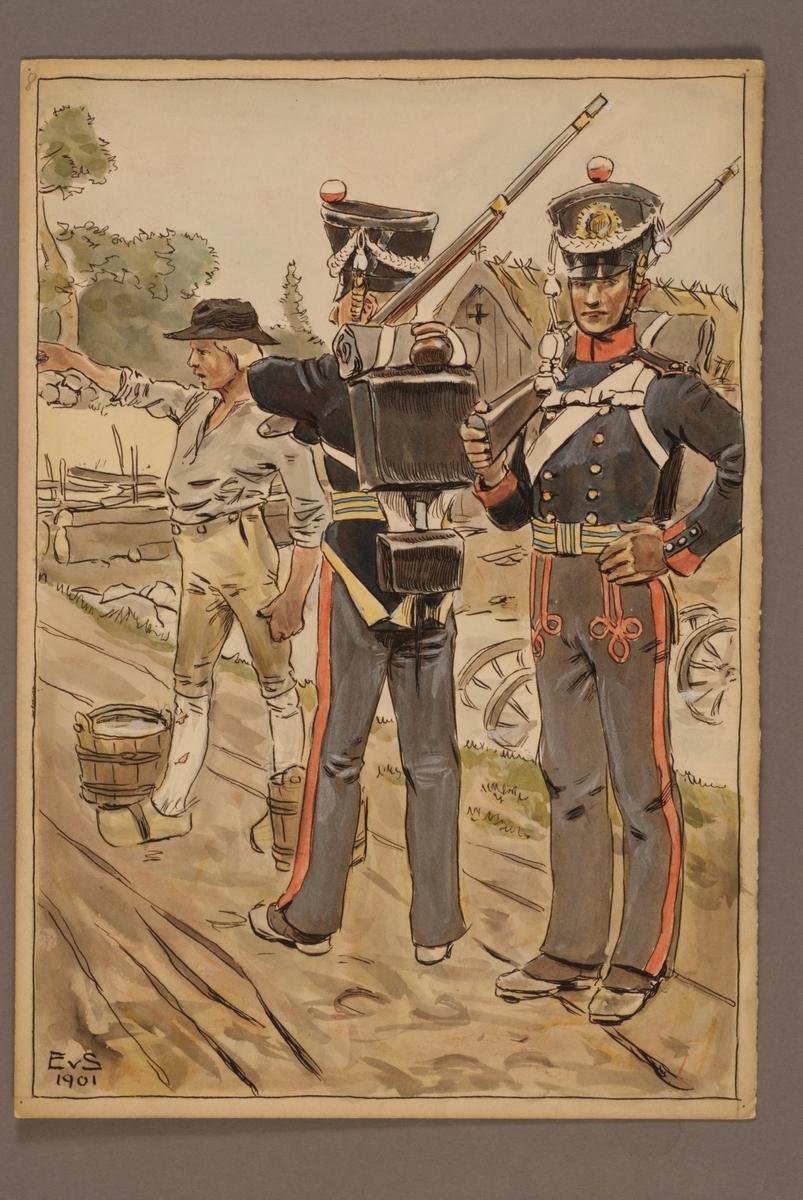 Plansch med uniform för Indelta linjeinfanteriet, ritad av Einar von Strokirch.