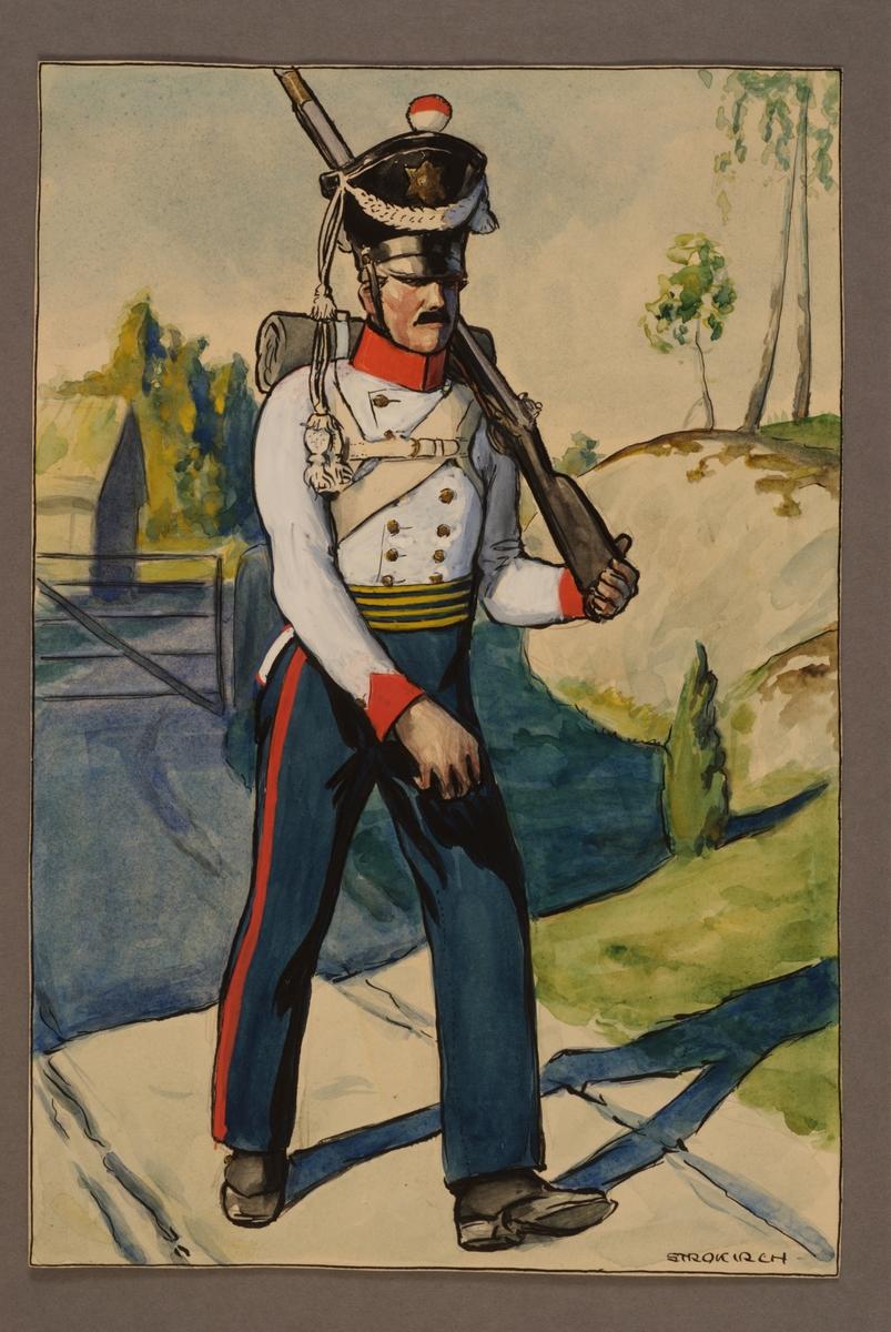 Plansch med uniform för soldat vid Västgöta regemente, ritad av Einar von Strokirch.