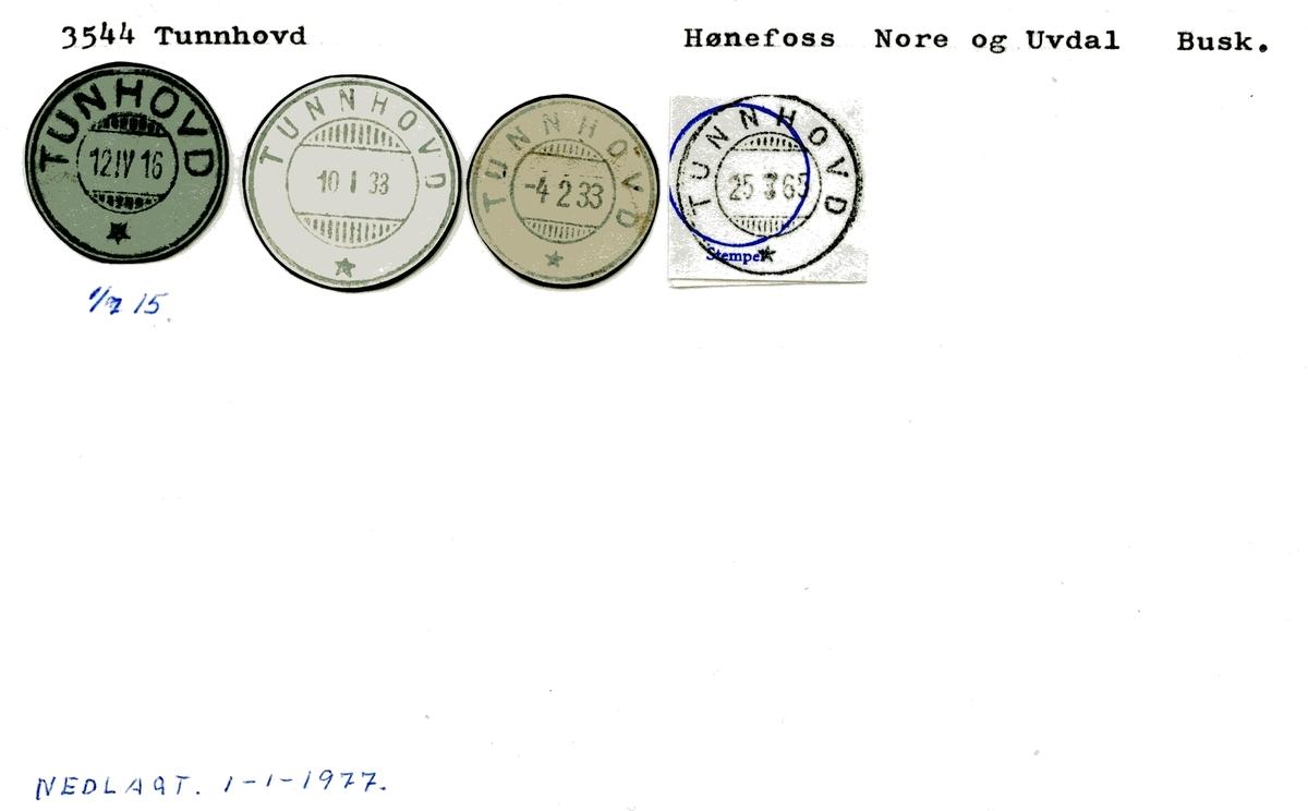 Stempelkatalog 3544 Tunnhovd (Tunhovd), Hønefoss, Nore og Uvdal, Buskerud
