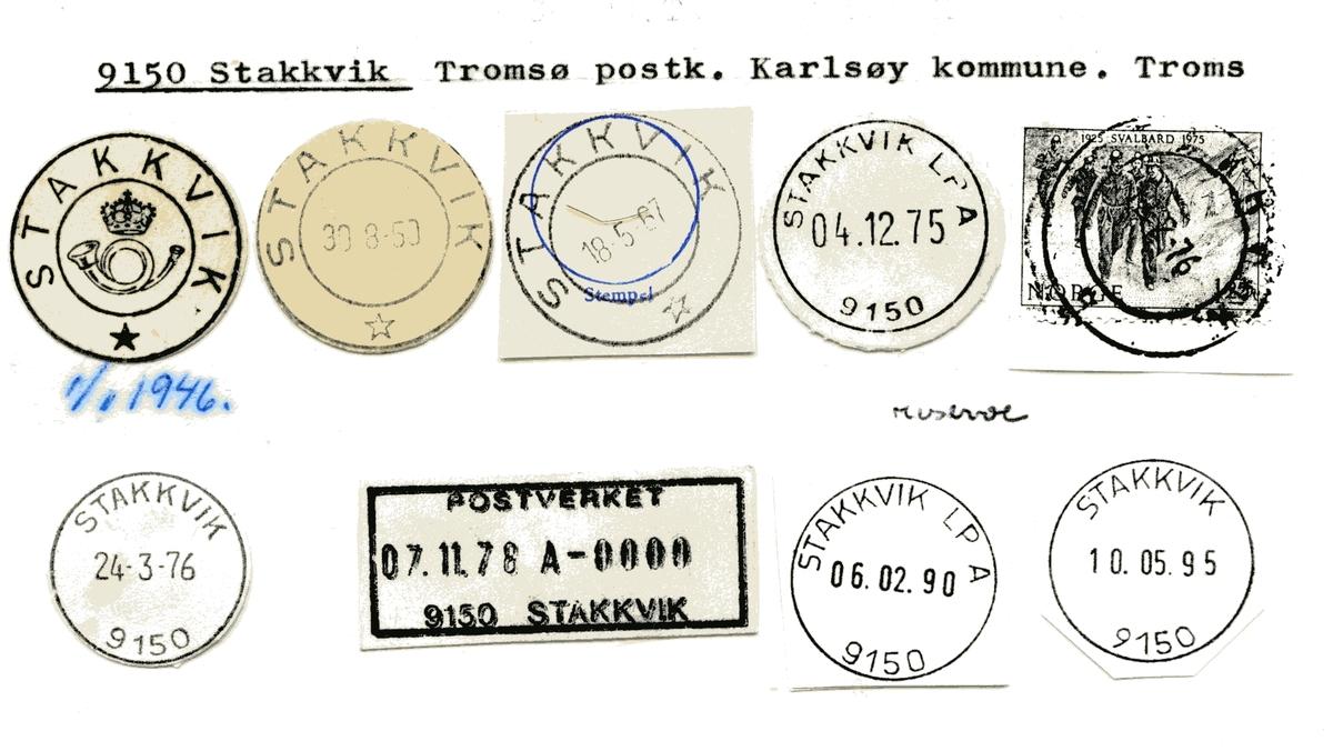 Stempelkatalog  9150 Stakkevik, Karlsøy kommune, Troms