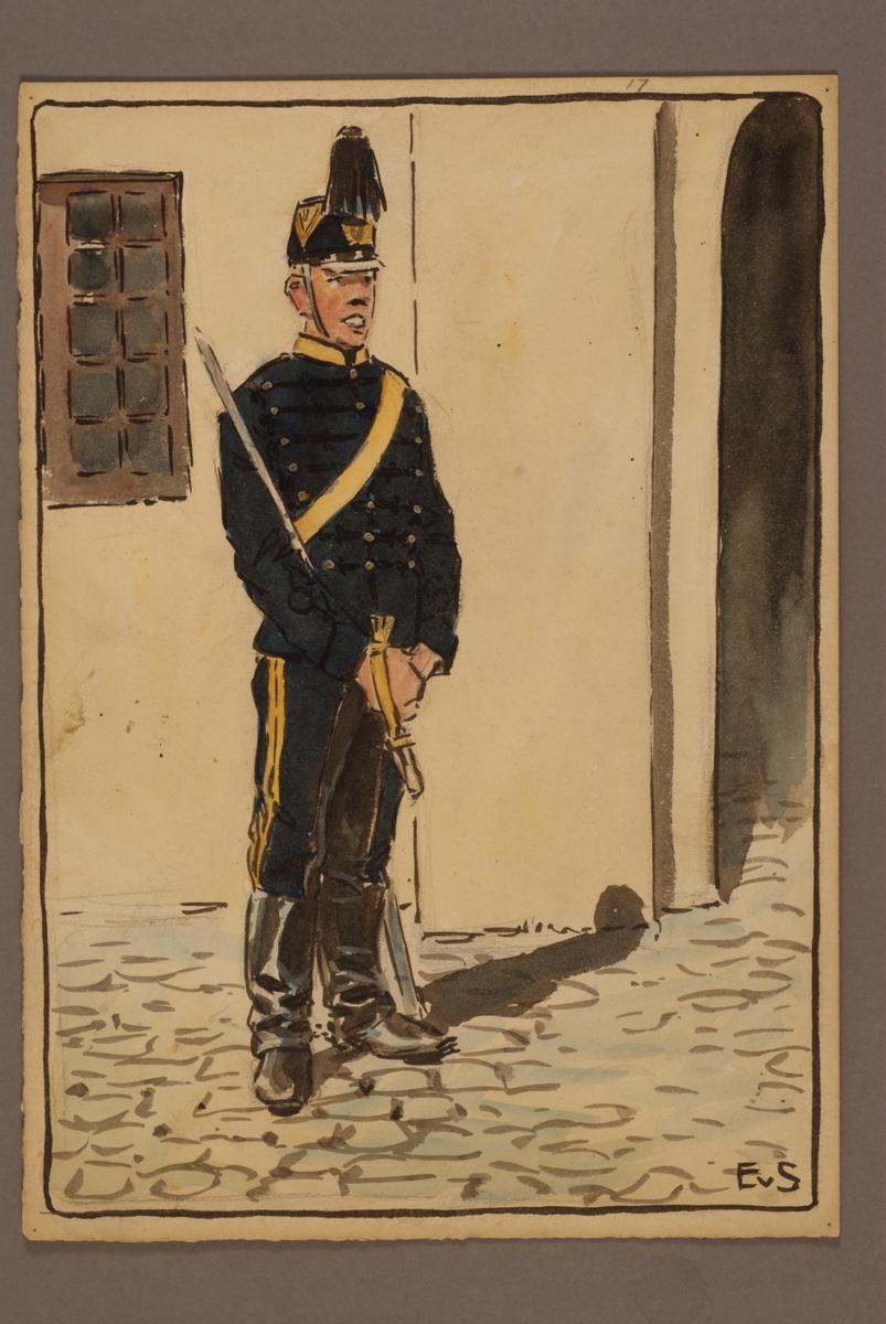 Plansch med uniform för Göta artilleriregemente, ritad av Einar von Strokirch.