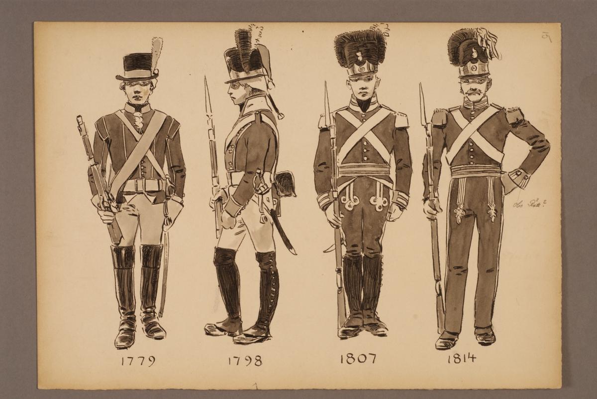 Plansch med uniform för Andra livgrenadjärregementet för åren 1779-1814, ritad av Einar von Strokirch.