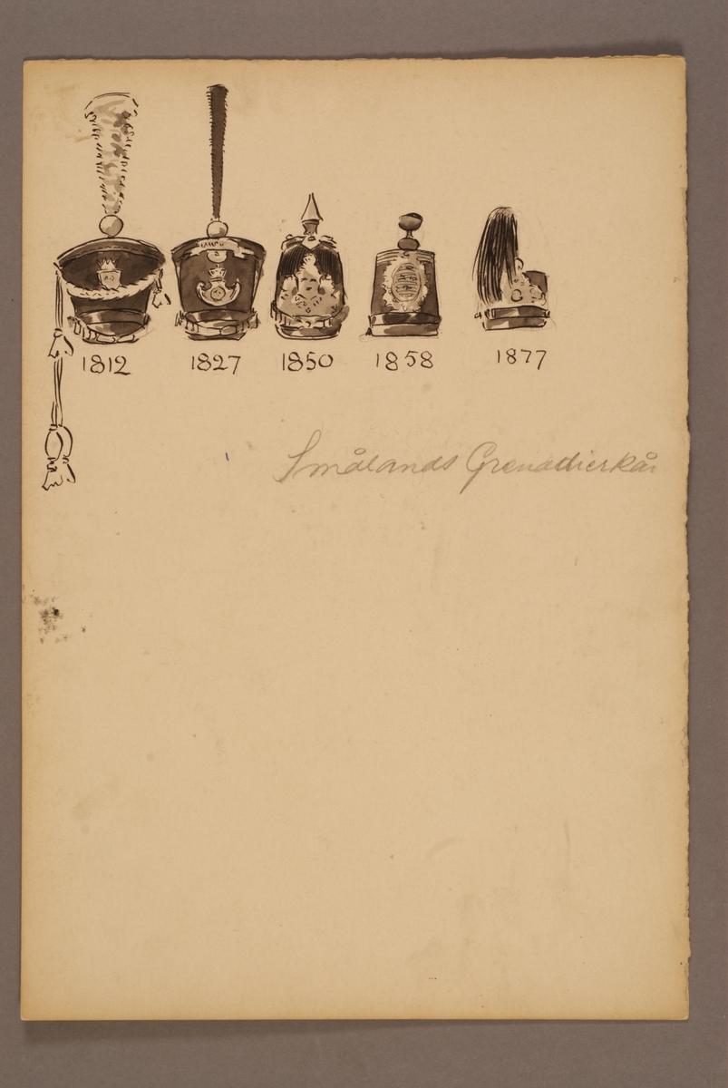 Plansch med huvudbonader för Smålands grenadjärkår för åren 1812-1877, ritad av Einar von Strokirch.