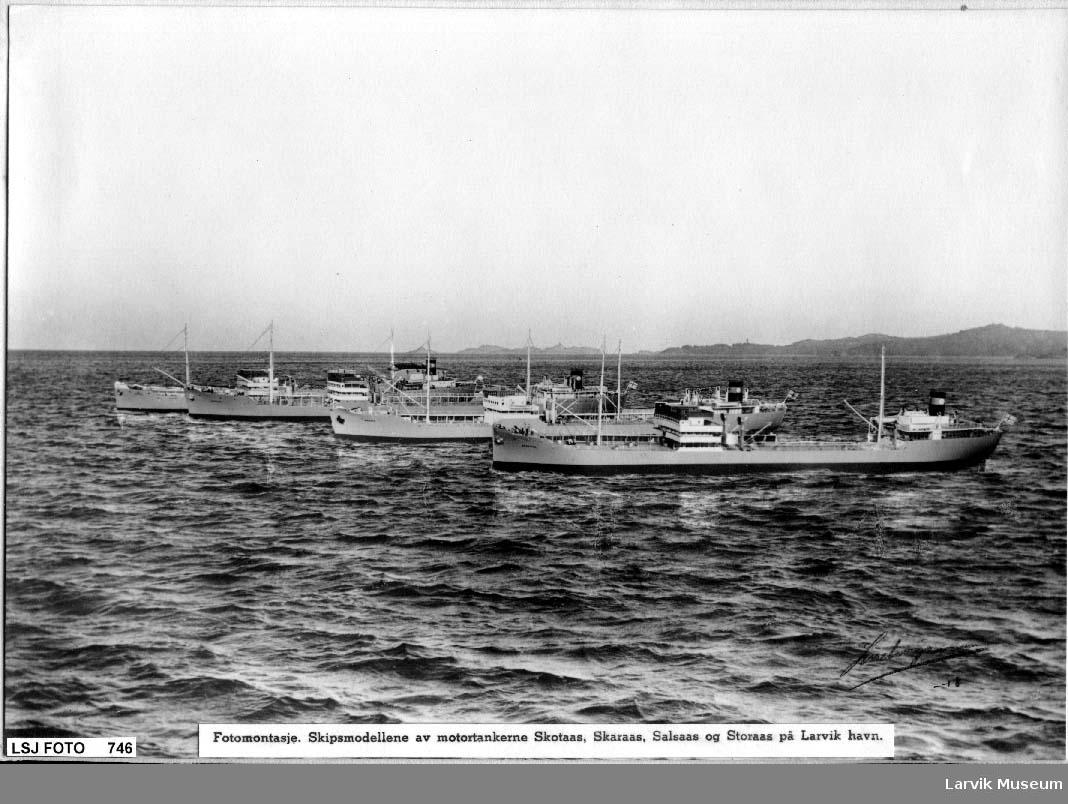 Fotomontasje med skipsmodellene av motortankerne Skotaas, skaraas, Salsaas og Storaas på Larvik Havn