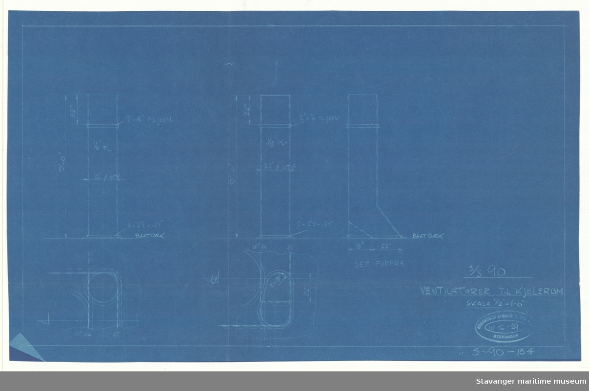 D/S ROGALAND.Ventilator til kjelerom.10.06.1929.