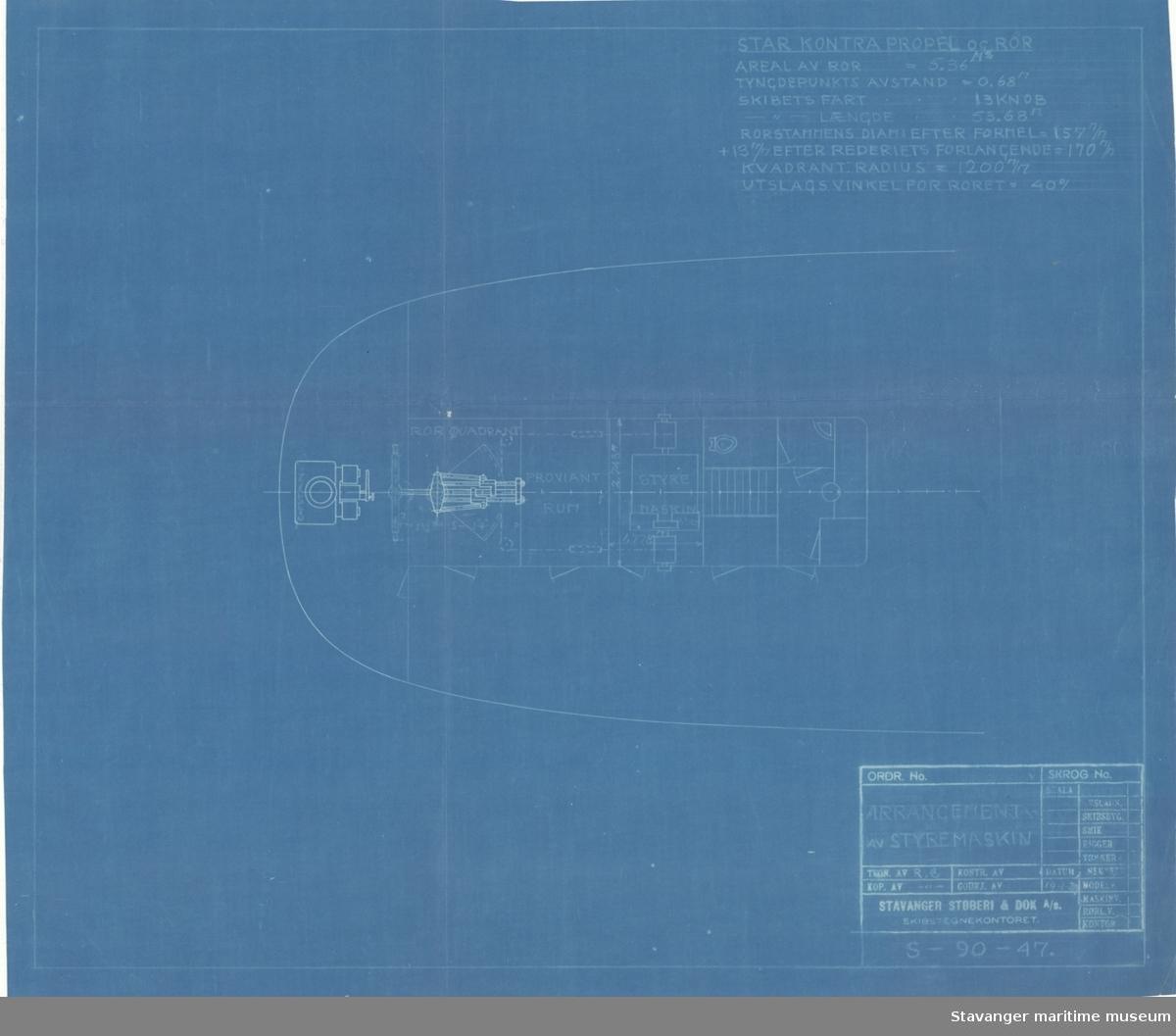 D/S ROGALAND.Arrangement av styremaskin.14.01.1929.