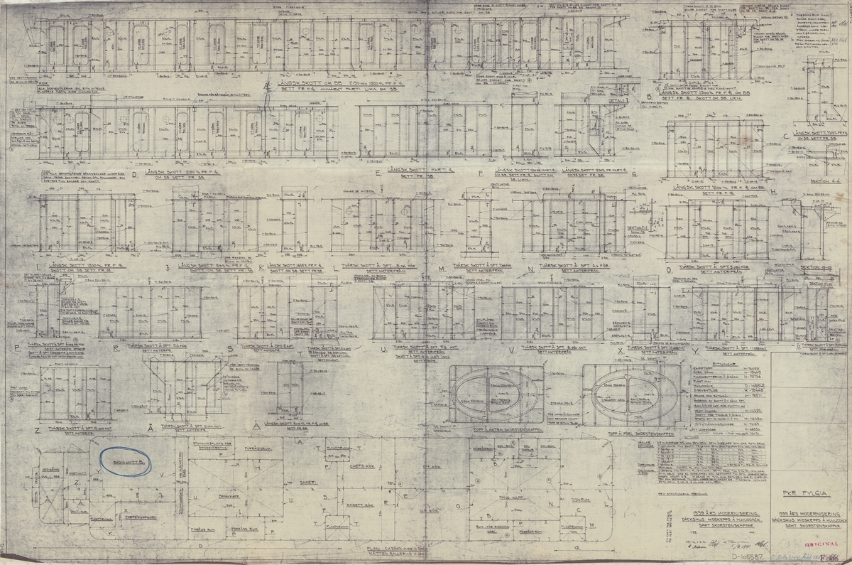 Detaljritning på 1939 års modernisering. Däckshus midskepps och huvuddäck samt skorstenskappar